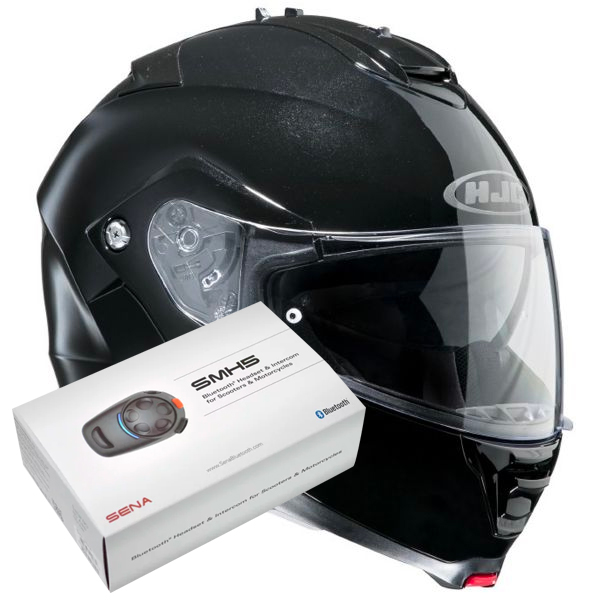Casque Modulable HJC IS-MAX II Noir + Kit Bluetooth Sena SMH5