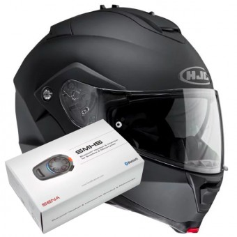 Casque Modulable HJC IS-MAX II Noir Mat + Kit Bluetooth Sena SMH5