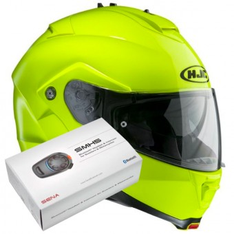 Casque Modulable HJC IS-MAX II Vert Fluo + Kit Bluetooth Sena SMH5