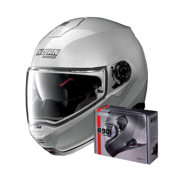 Casque Modulable Nolan N100 5 Classic N-Com Platinum Silver 1 + Kit Bluetooth B901 R