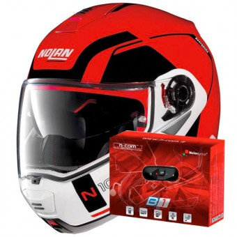 Casque Modulable Nolan N100 5 Consistency N-Com Corsa Red 23 + Kit Bluetooth B1.4