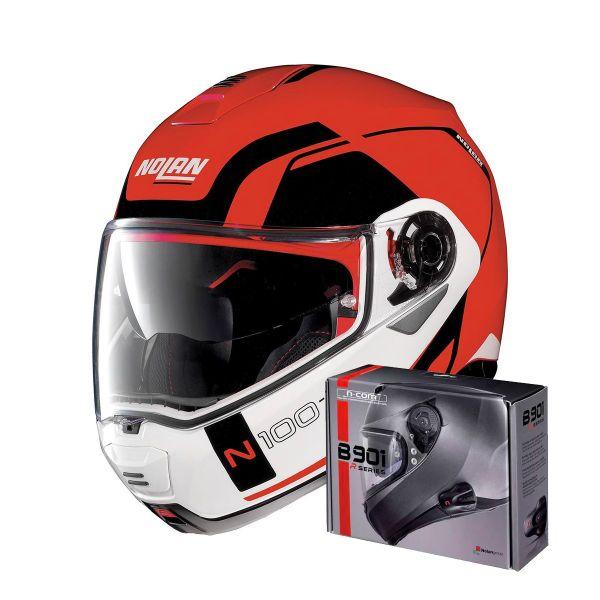 Casque Modulable Nolan N100 5 Consistency N-Com Corsa Red 23 + Kit Bluetooth B901 R