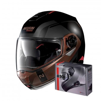 Casque Modulable Nolan N100 5 Consistency N-Com Flat Black Copper 28 + Kit Bluetooth B901 R