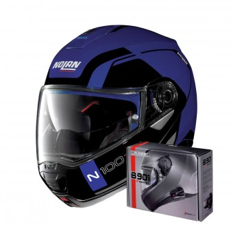 Casque Modulable Nolan N100 5 Consistency N-Com Flat Caymen Blue 24 + Kit Bluetooth B901 R