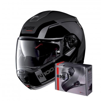Casque Modulable Nolan N100 5 Consistency N-Com Flat Lava Grey 20 + Kit Bluetooth B901 R