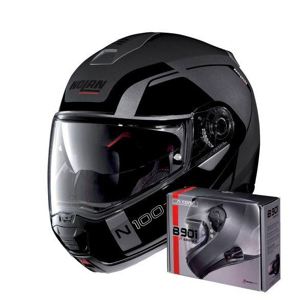 Casque Modulable Nolan N100 5 Consistency N-Com Flat Lava Grey 20 + Kit Bluetooth B901 R