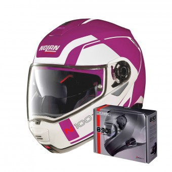 Casque Modulable Nolan N100 5 Consistency N-Com Fuchsia Kiss 25 + Kit Bluetooth B901 R