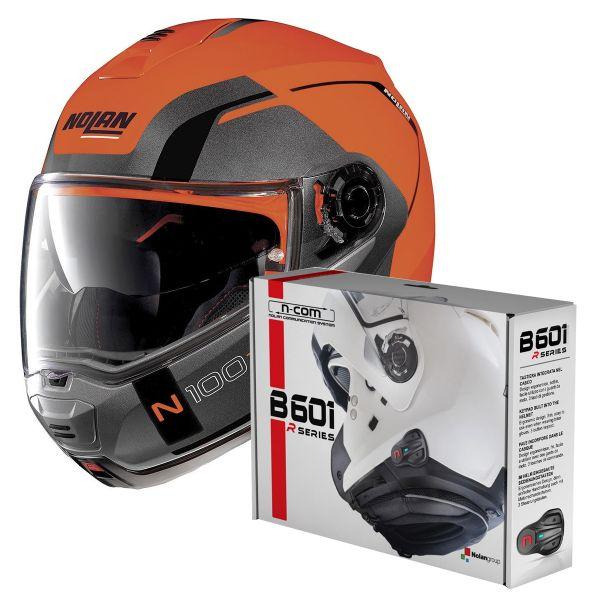 Casque Modulable Nolan N100 5 Consistency N-Com Led Flat Orange 27 + Kit Bluetooth B601R