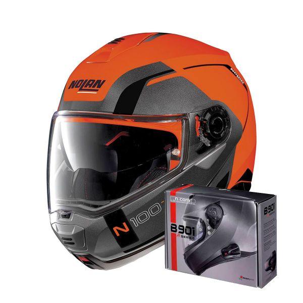 Casque Modulable Nolan N100 5 Consistency N-Com Led Flat Orange 27 + Kit Bluetooth B901 R