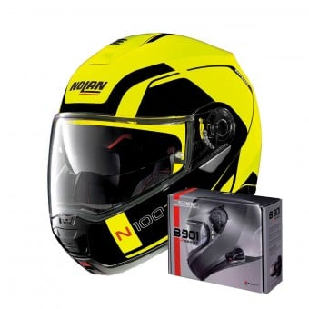 Casque Modulable Nolan N100 5 Consistency N-Com Led Yellow 26 + Kit Bluetooth B901 R