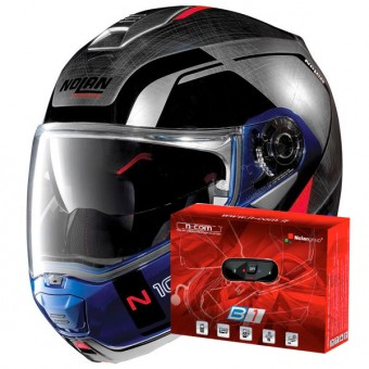 Casque Modulable Nolan N100 5 Consistency N-Com Scratched Chrome 29 + Kit Bluetooth B1.4