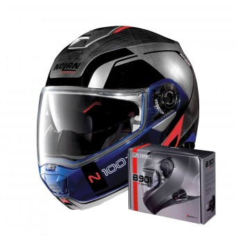 Casque Modulable Nolan N100 5 Consistency N-Com Scratched Chrome 29 + Kit Bluetooth B901 R