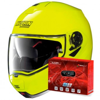 Casque Modulable Nolan N100 5 Hi-Visibility N-Com Yellow Fluo 22 + Kit Bluetooth B1.4