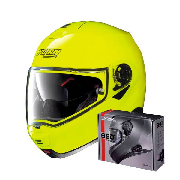 Casque Modulable Nolan N100 5 Hi-Visibility N-Com Yellow Fluo 22 + Kit Bluetooth B901 R