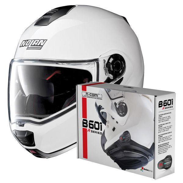 Casque Modulable Nolan N100 5 Special N-Com Pure White 15 + Kit Bluetooth B601R
