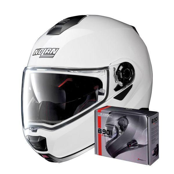 Casque Modulable Nolan N100 5 Special N-Com Pure White 15 + Kit Bluetooth B901 R