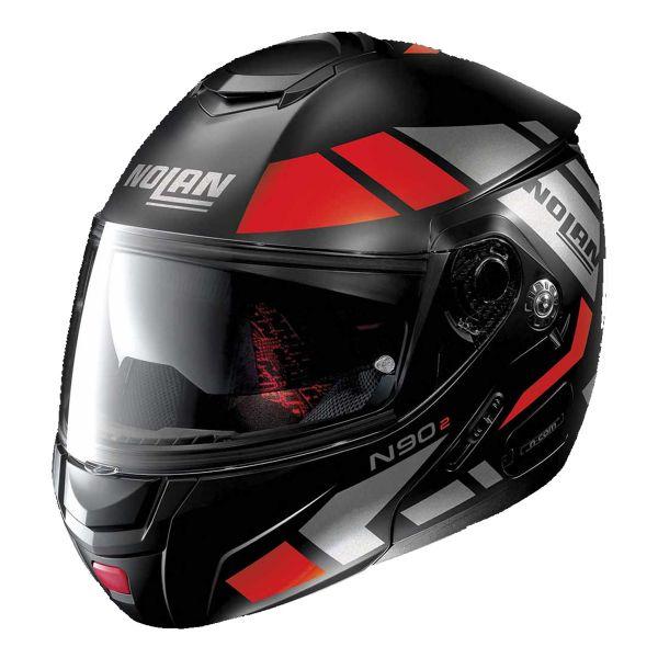 Casque Modulable Nolan N90 2 Euclid N-Com Flat Black Red 25