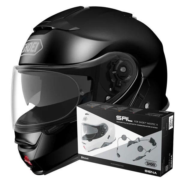 Casque Modulable Shoei Neotec II Black + Intercom Sena Neotec II SRL-01
