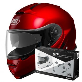 Casque Modulable Shoei Neotec II Wine Red + Intercom Sena Neotec II SRL-01