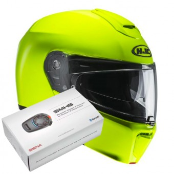 Casque Modulable HJC RPHA 90 Fluo Green + Kit Bluetooth SMH5