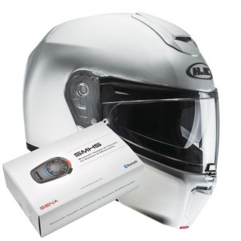 Casque Modulable HJC RPHA 90 Pearl White + Kit Bluetooth SMH5