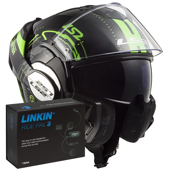 Casque Modulable LS2 Valiant Nucleus Black Glow Green FF399 + Linkin Ride Pal III