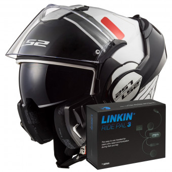 Casque Modulable LS2 Valiant Prox White Red FF399 + Linkin Ride Pal III