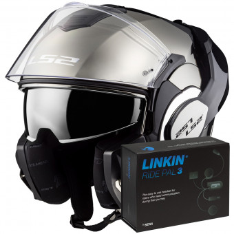 Casque Modulable LS2 Valiant Solid Gloss Chrome FF399 + Linkin Ride Pal III