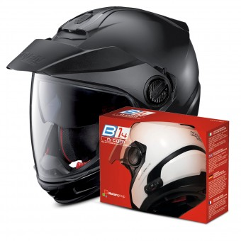 Casque Transformable Nolan N40 5 GT Classic N-Com Flat Black 10 + Kit Bluetooth B1.4