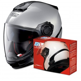 Casque Transformable Nolan N40 5 GT Special N-Com Salt Silver 11 + Kit Bluetooth B1.4