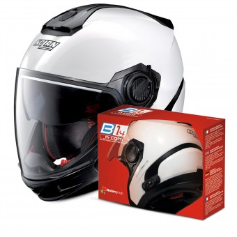 Casque Transformable Nolan N40 5 GT Special N-Com White 15 + Kit Bluetooth B1.4