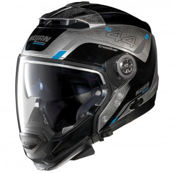 Casque Transformable Nolan N44 Evo Viewpoint N-Com Scratched Chrome 54