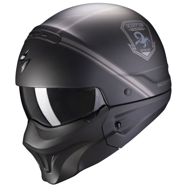 Casque Transformable Scorpion Exo Combat Evo Unborn Matt Black Silver