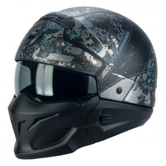Casque Transformable Scorpion Exo Combat Opex Noir Matt Argent