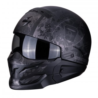Casque Transformable Scorpion Exo Combat Stealth Noir Mat Argent