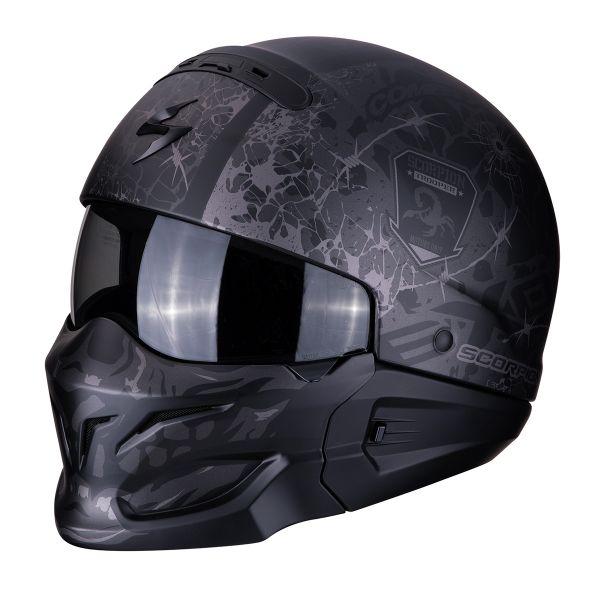 Casque Transformable Scorpion Exo Combat Stealth Noir Mat Argent