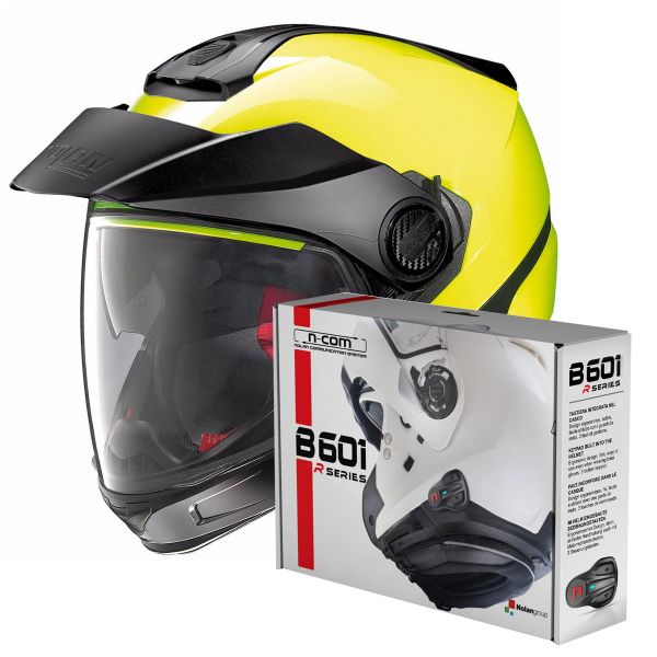 Casque Transformable Nolan N40 5 GT Hi-Visibility N-Com Fluo Yellow + Kit Bluetooth B601R