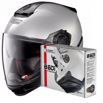 Casque Transformable Nolan N40 5 GT Special N-Com Salt Silver 11 + Kit Bluetooth B601R