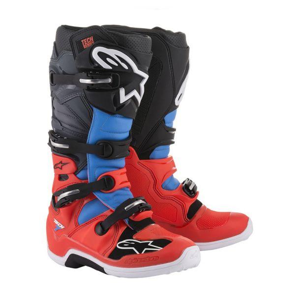 Bottes Cross Alpinestars TECH 7 Red Fluo Cyan Gray Black