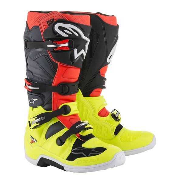 Bottes Cross Alpinestars TECH 7 Yellow Fluo Red Gray Black