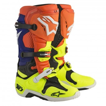 5b679cb562fe7a Bottes Cross Alpinestars Tech 10 Orange Fluo Blue White Yellow Fluo en  Stock