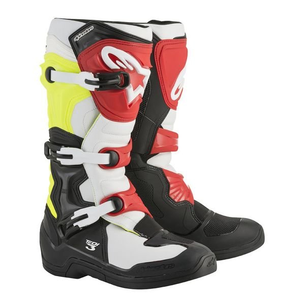 Bottes Cross Alpinestars Tech 3 Black White Yellow Fluo Red