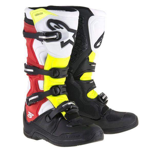 Bottes Cross Alpinestars Tech 5 Blue Black Yellow Fluo Red