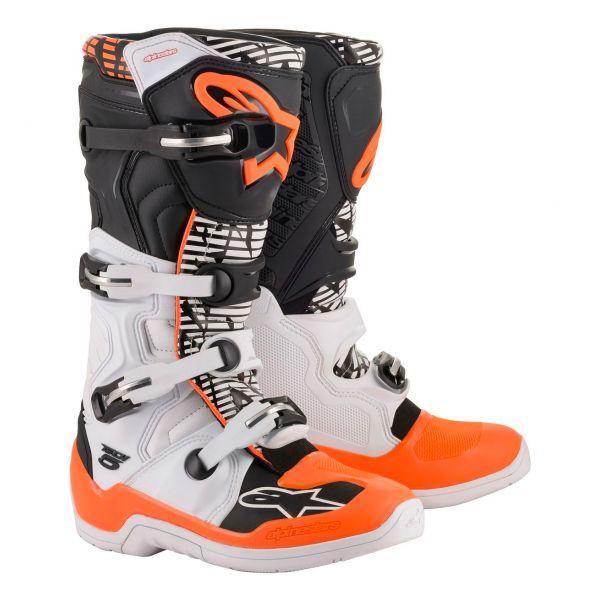 Bottes Cross Alpinestars Tech 5 White Black Orange Fluo