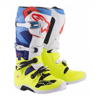 Bottes Cross Alpinestars TECH 7 Yellow Fluo White Blue Cyan