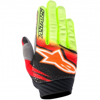 Gants Cross Alpinestars Techstar Venom Red Yellow Fluo