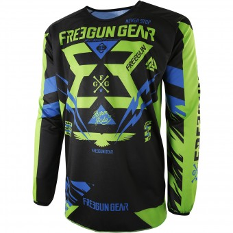 Maillot Cross Freegun Devo Trooper Green Blue Enfant