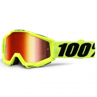 Masque Cross 100% Accuri Fluo Yellow Mirror Red Lens Enfant