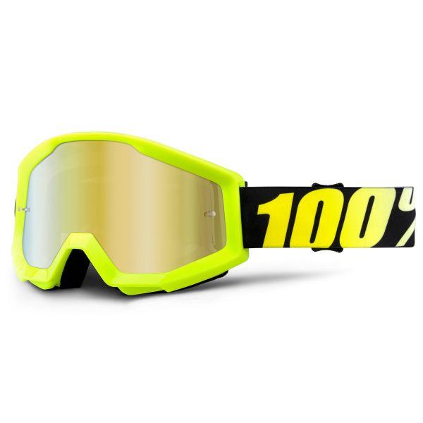 Masque Cross 100% Strata Neon Yellow Mirror Gold Lens