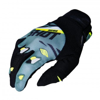 Gants Cross SHOT Contact Score Kaki Neon Jaune CE